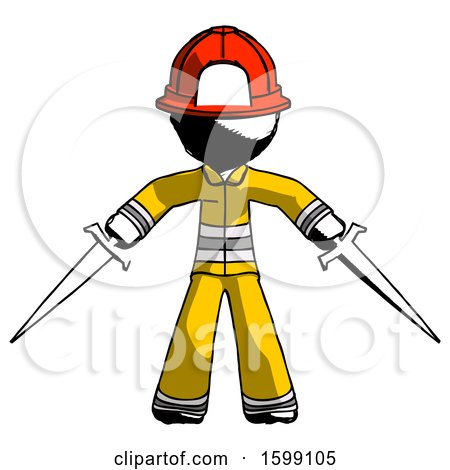 Ink Firefighter Fireman Man Two Sword Defense Pose by Leo Blanchette