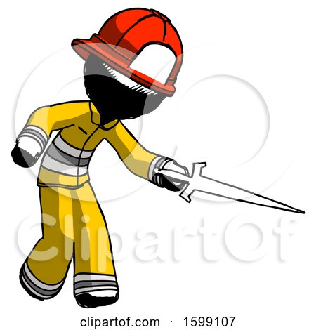 Ink Firefighter Fireman Man Sword Pose Stabbing or Jabbing by Leo Blanchette