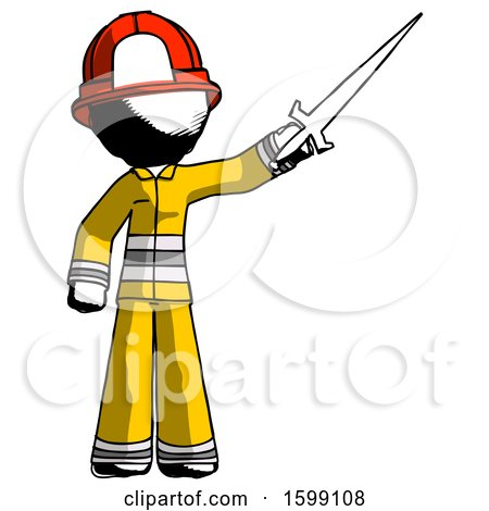 Ink Firefighter Fireman Man Holding Sword in the Air Victoriously by Leo Blanchette