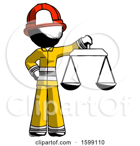 Ink Firefighter Fireman Man Holding Scales of Justice by Leo Blanchette