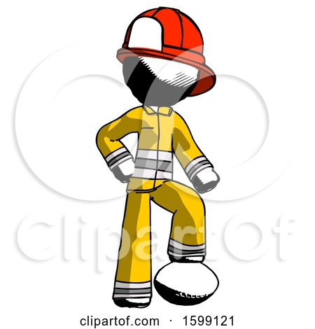 Ink Firefighter Fireman Man Standing with Foot on Football by Leo Blanchette