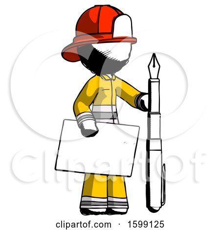 Ink Firefighter Fireman Man Holding Large Envelope and Calligraphy Pen by Leo Blanchette
