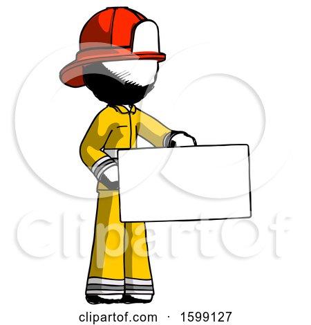 Ink Firefighter Fireman Man Presenting Large Envelope by Leo Blanchette