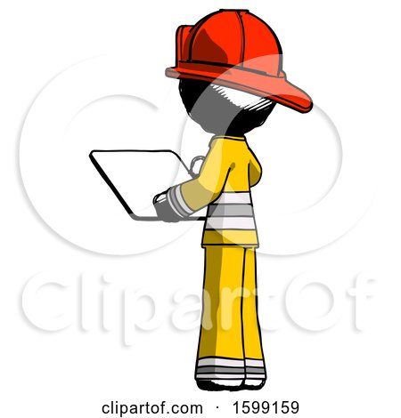 Ink Firefighter Fireman Man Looking at Tablet Device Computer with Back to Viewer by Leo Blanchette