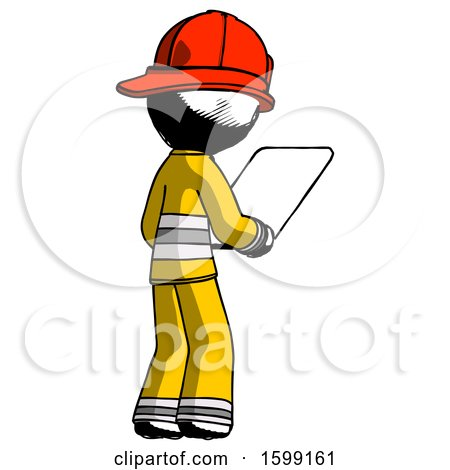 Ink Firefighter Fireman Man Looking at Tablet Device Computer Facing Away by Leo Blanchette