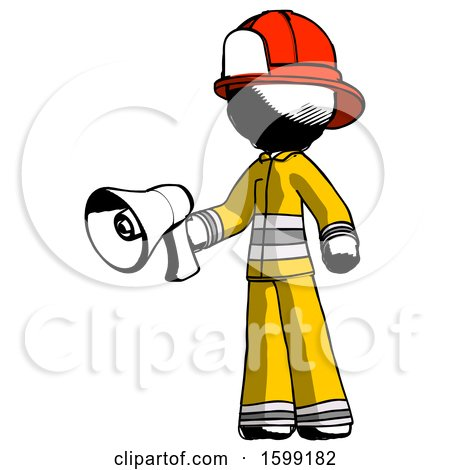 Ink Firefighter Fireman Man Holding Megaphone Bullhorn Facing Right by Leo Blanchette
