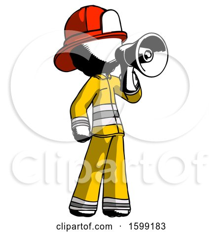 Ink Firefighter Fireman Man Shouting into Megaphone Bullhorn Facing Right by Leo Blanchette