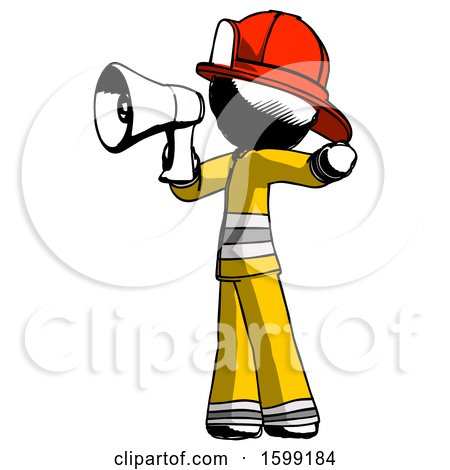 Ink Firefighter Fireman Man Shouting into Megaphone Bullhorn Facing Left by Leo Blanchette