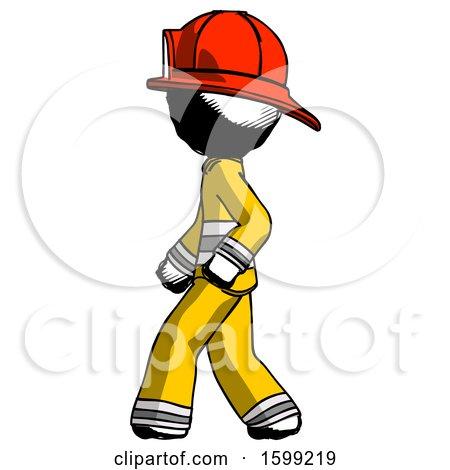 Ink Firefighter Fireman Man Walking Left Side View by Leo Blanchette
