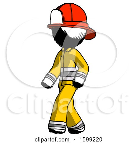 Ink Firefighter Fireman Man Man Walking Turned Left Front View by Leo Blanchette