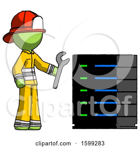 Green Firefighter Fireman Man Server Administrator Doing Repairs by Leo Blanchette