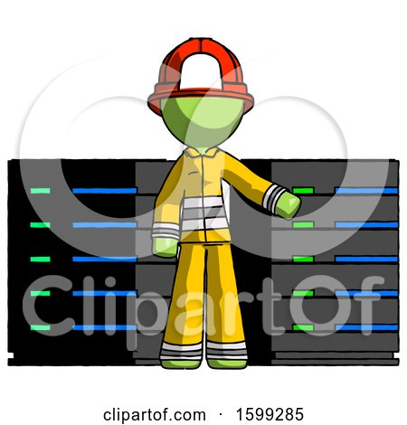 Green Firefighter Fireman Man with Server Racks, in Front of Two Networked Systems by Leo Blanchette