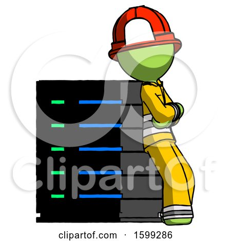 Green Firefighter Fireman Man Resting Against Server Rack Viewed at Angle by Leo Blanchette