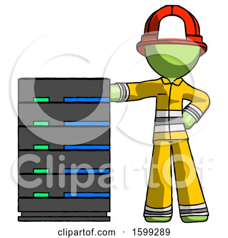 Green Firefighter Fireman Man with Server Rack Leaning Confidently Against It by Leo Blanchette