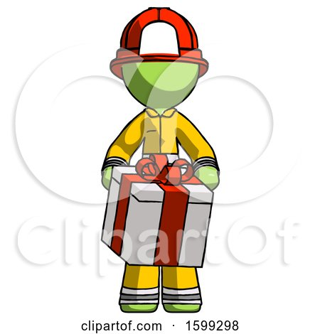 Green Firefighter Fireman Man Gifting Present with Large Bow Front View by Leo Blanchette