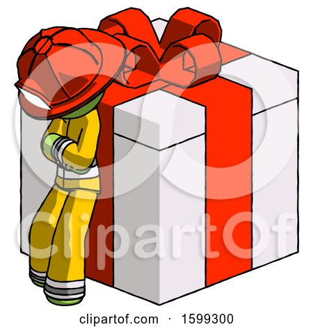 Green Firefighter Fireman Man Leaning on Gift with Red Bow Angle View by Leo Blanchette