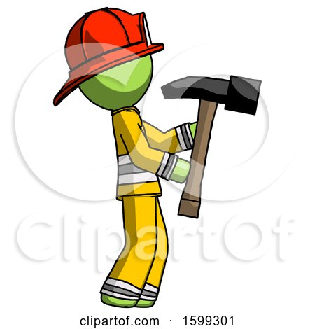 Green Firefighter Fireman Man Hammering Something on the Right by Leo Blanchette