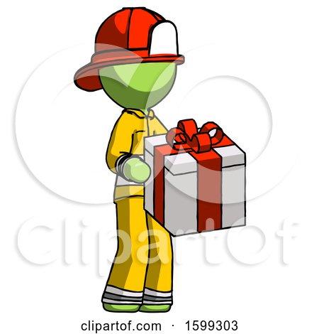 Green Firefighter Fireman Man Giving a Present by Leo Blanchette