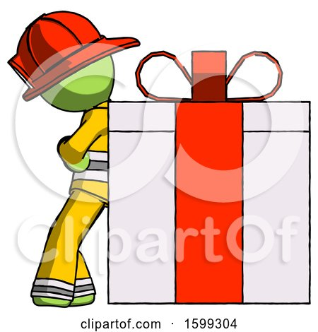 Green Firefighter Fireman Man Gift Concept - Leaning Against Large Present by Leo Blanchette