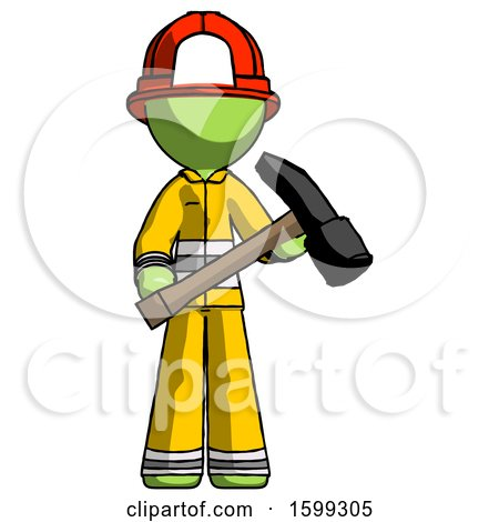 Green Firefighter Fireman Man Holding Hammer Ready to Work by Leo Blanchette