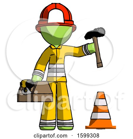 Green Firefighter Fireman Man Under Construction Concept, Traffic Cone and Tools by Leo Blanchette