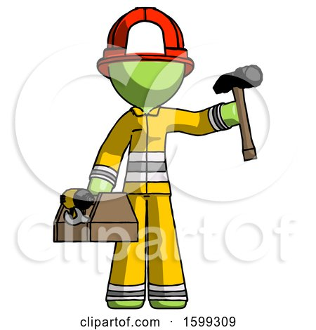 Green Firefighter Fireman Man Holding Tools and Toolchest Ready to Work by Leo Blanchette