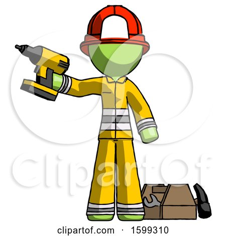 Green Firefighter Fireman Man Holding Drill Ready to Work, Toolchest and Tools to Right by Leo Blanchette