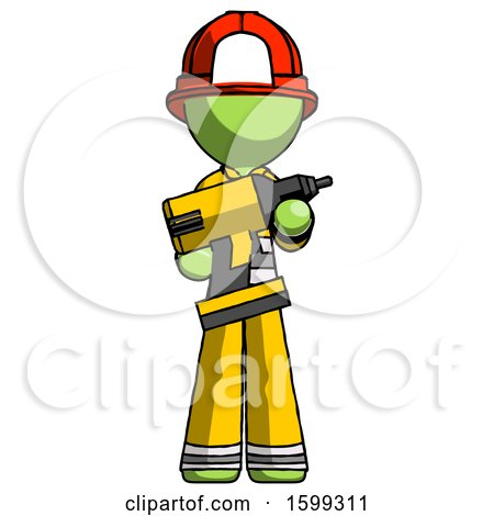 Green Firefighter Fireman Man Holding Large Drill by Leo Blanchette