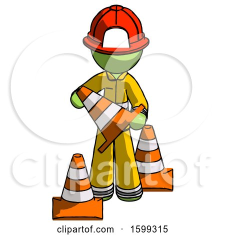 Green Firefighter Fireman Man Holding a Traffic Cone by Leo Blanchette