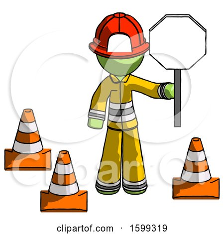 Green Firefighter Fireman Man Holding Stop Sign by Traffic Cones Under Construction Concept by Leo Blanchette