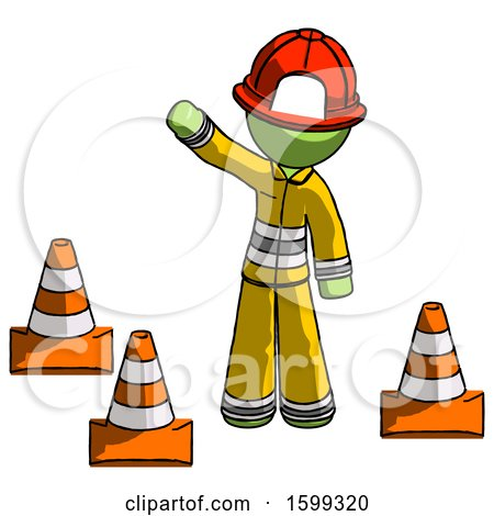 Green Firefighter Fireman Man Standing by Traffic Cones Waving by Leo Blanchette