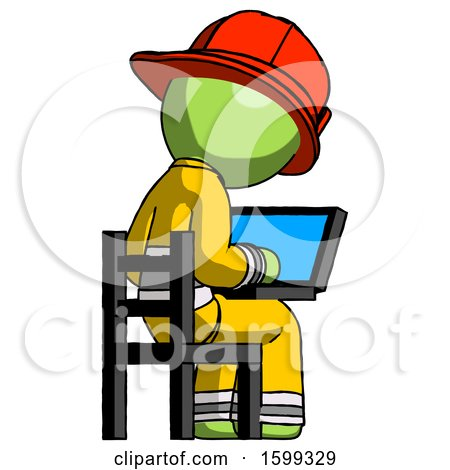 Green Firefighter Fireman Man Using Laptop Computer While Sitting in Chair View from Back by Leo Blanchette