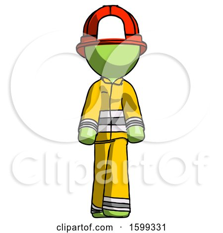 Green Firefighter Fireman Man Walking Front View by Leo Blanchette
