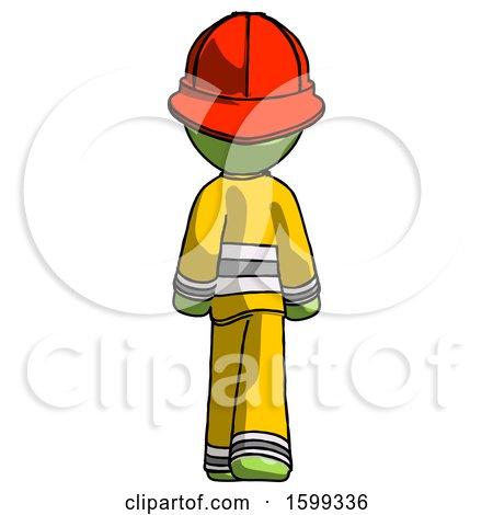 Green Firefighter Fireman Man Walking Away, Back View by Leo Blanchette