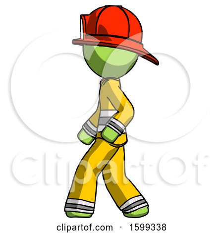 Green Firefighter Fireman Man Walking Left Side View by Leo Blanchette