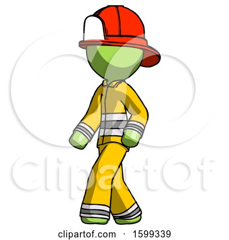 Green Firefighter Fireman Man Man Walking Turned Left Front View by Leo Blanchette