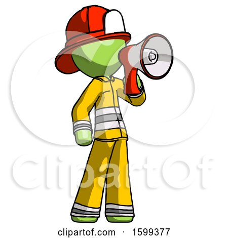 Green Firefighter Fireman Man Shouting into Megaphone Bullhorn Facing Right by Leo Blanchette