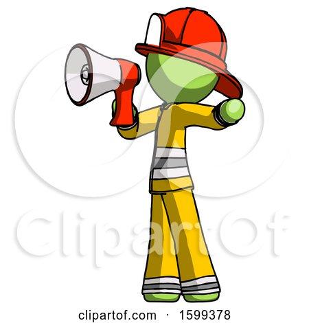 Green Firefighter Fireman Man Shouting into Megaphone Bullhorn Facing Left by Leo Blanchette