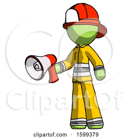 Green Firefighter Fireman Man Holding Megaphone Bullhorn Facing Right by Leo Blanchette