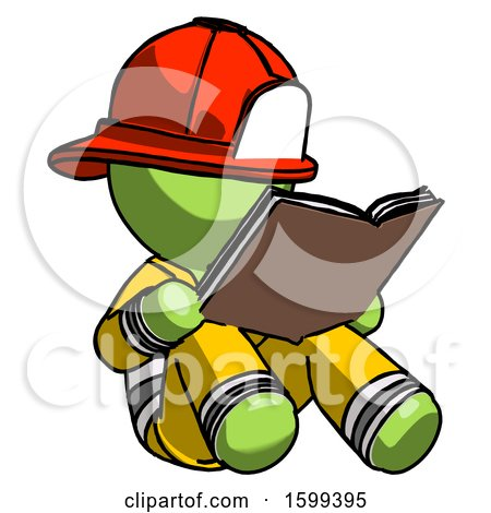 Green Firefighter Fireman Man Reading Book While Sitting down Posters, Art Prints