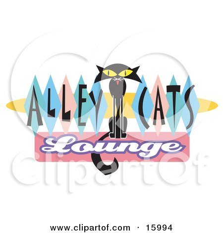 Slender Black Cat On An Alley Cats Lounge Sign Posters, Art Prints