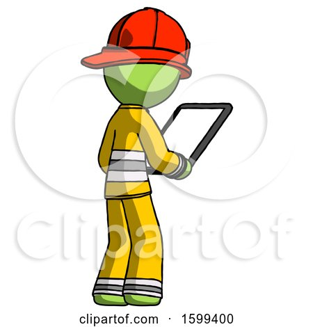 Green Firefighter Fireman Man Looking at Tablet Device Computer Facing Away by Leo Blanchette