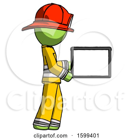 Green Firefighter Fireman Man Show Tablet Device Computer to Viewer, Blank Area by Leo Blanchette