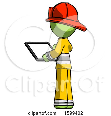 Green Firefighter Fireman Man Looking at Tablet Device Computer with Back to Viewer by Leo Blanchette