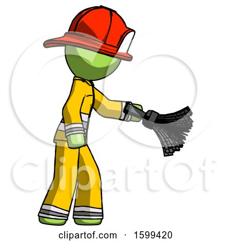 Green Firefighter Fireman Man Dusting with Feather Duster Downwards by Leo Blanchette