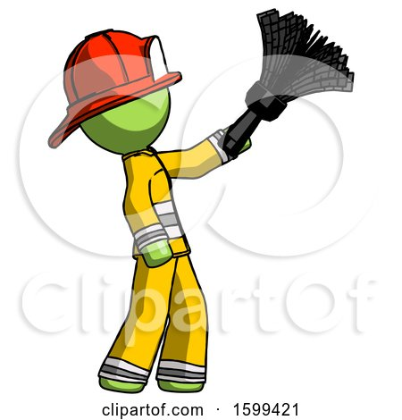 Green Firefighter Fireman Man Dusting with Feather Duster Upwards by Leo Blanchette