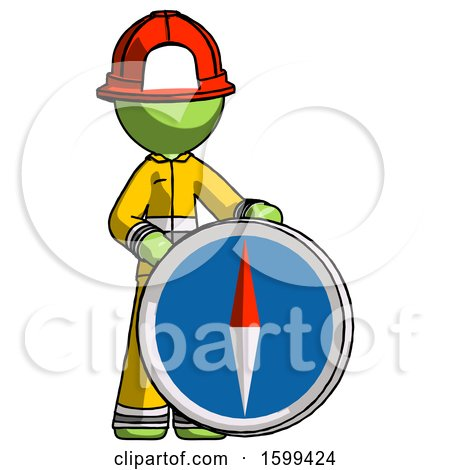 Green Firefighter Fireman Man Standing Beside Large Compass by Leo Blanchette