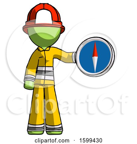 Green Firefighter Fireman Man Holding a Large Compass by Leo Blanchette