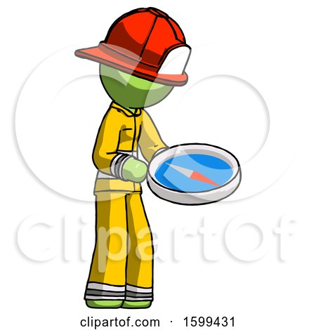 Green Firefighter Fireman Man Looking at Large Compass Facing Right by Leo Blanchette