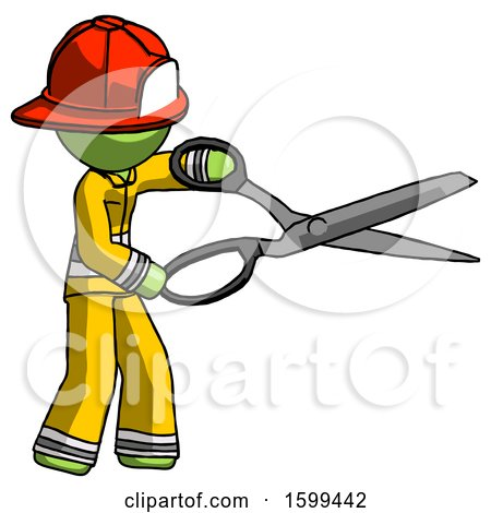 Green Firefighter Fireman Man Holding Giant Scissors Cutting out Something by Leo Blanchette